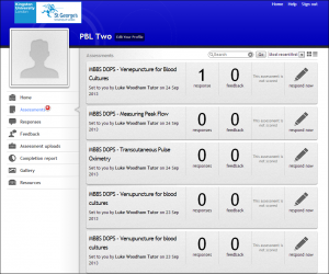 Example of a student assessment dashboard on a web browser